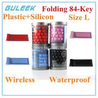 GLK-2.4GHz Waterproof Silicone Bluetooth 3.0 Flexible Folding 84-Key Wireless Keyboard for PC Laptop-Size L