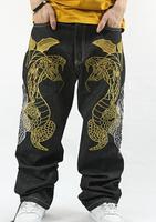 jeans men new 2014 designer jeans pant brand fashion hip hop jeans men hip-hop embroidery loose board pants men's trousers