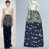Free shipping women's new runway 2015 Butterfly flower digital print sleeveless turndown collar summer dress