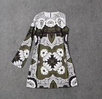 Runway 2015 New Spring Women's Dress Fashion Vintage Fower Print One-Shoulder Dress High Quality Knee-length Elegant Dress