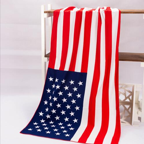 Bath Towel Brand New Microfiber Fabric Bath Towels For Adults USA Flag Big Printed Beach Towel Drying Toalla Bathroom Supplies(China (Mainland))