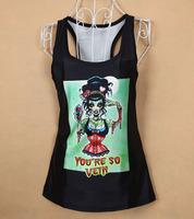 sexy black tops summer crop top women brands horrible letter women fashion tops russian Dropshipping XY075