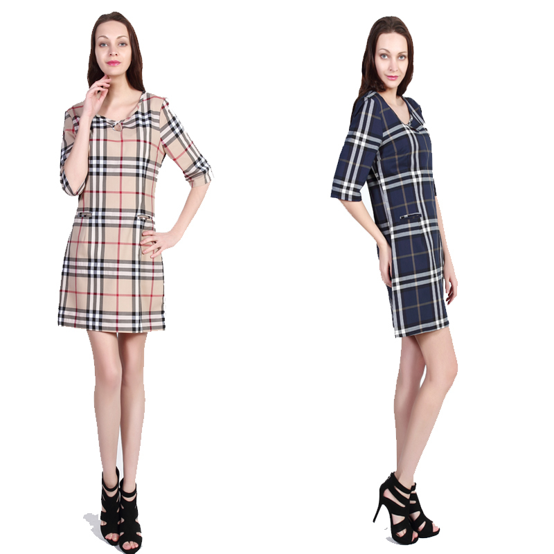 Casual Lady Diana Dress Classic Plaid Empire Casual Dress Cultivate Grid Women Dresses England London Style S-2XL Plus 2 color(China (Mainland))