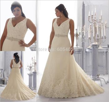 Свадебные платья Casamento оптовая продажа 2015 сексуальная V шеи элегантный Большой размер свадебное платье свадебные платья Noiva ком ренда импортные китай