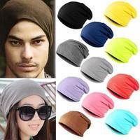 Wholesale 2015 NEW Men Slouchy Beanies Caps Mens Spring Plain Skullcap Womens Summer Cotton Skullies Beanie Hat Oversized Hats