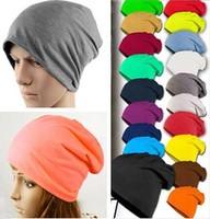 Wholesale 10pcs 2015 Blank Men Slouch Beanies Caps Mens Spring Plain Skullcap Womens Cotton Skullies Beanie Hat Oversized Hats