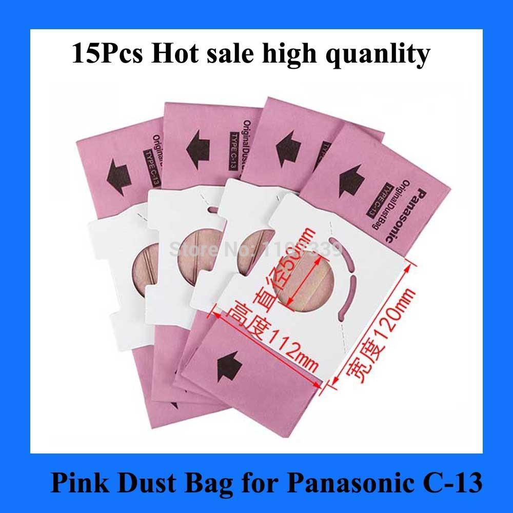15Pcs Vacuum Cleaner Dust Bag Replacement for fit Panasonic C-13 MC-CA593 CA591 CA293 CA291(China (Mainland))