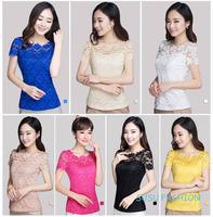 2015 Tropical Blusas Femininas Roupas Lace Women Blouses Renda Sexy Floral Pierced Short Sleeve Casual Summer Shirt Plus Size