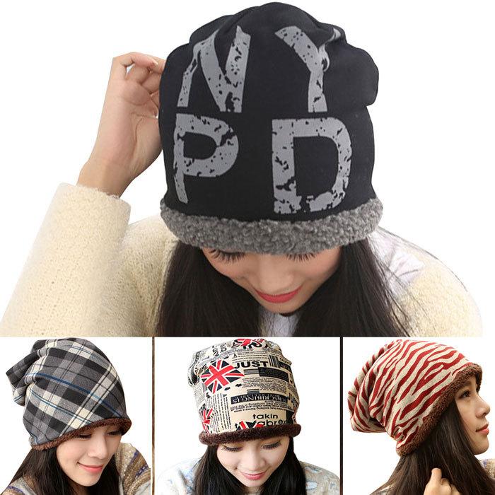 Women Winter Warm Hat Women's Thick Plush Velet Warmly Winter Hats Unique Hip Hop Beanie Unique Letter Pattern knited Cap(China (Mainland))