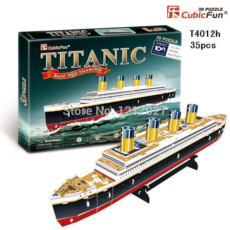 "CUBICFUN CUBIC FUN 3D Puzzle Paper Model TITANIC Ship Parts Kit DIY Toy Ship Model -T4012h(35pcs), 45x13x6cm(17.7""x5.1""x2.4"")(China (Mainland))"