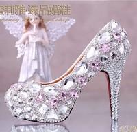 Pink crystal high-heeled pumps the bride shoes platform rhinestone pink wedding shoes formal dress shoes diamond wedding heels
