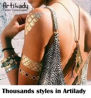 Artilady big size new design gold silver  tattoo set  temporary tattoos women tattoo set gold silver metallic  tattoos