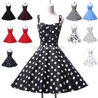 Summer 2015  Women Cotton Audrey 50s 60s Vintage Retro Rockabilly Pinup Print Polka Dots Prom Party Swing Dresses plus size 6093