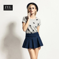 JYL jeans 2015 New Casual Play Jeans Lovely Pleated denim skirt,wide waist above knee women ruffles skirts jeans,shorts inside