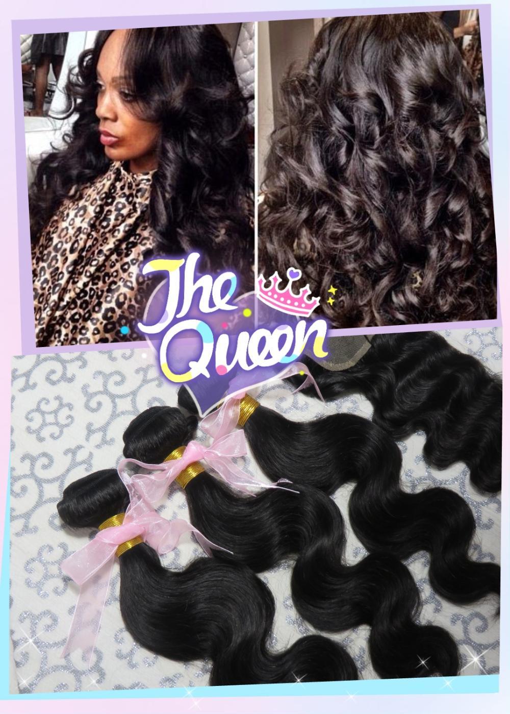 "6A Grade Ms Lula Peruvian Virginy Hair Ms Lula Peruvian Virginy Hair 3 Bundles With Closure Humen Hair Weave Extensions 8-30""(China (Mainland))"