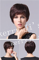 Everyday Any occasion FULL Straight wig Brown Short Hair wigs 10pcs/lot free shipping