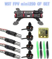 WST DIY drones through mini 250 FPV quadcopter frame+CC3D Flight Control+4pcs EXMA 1806 2280 Brushless motors+4pcs Lotte ESC 10A