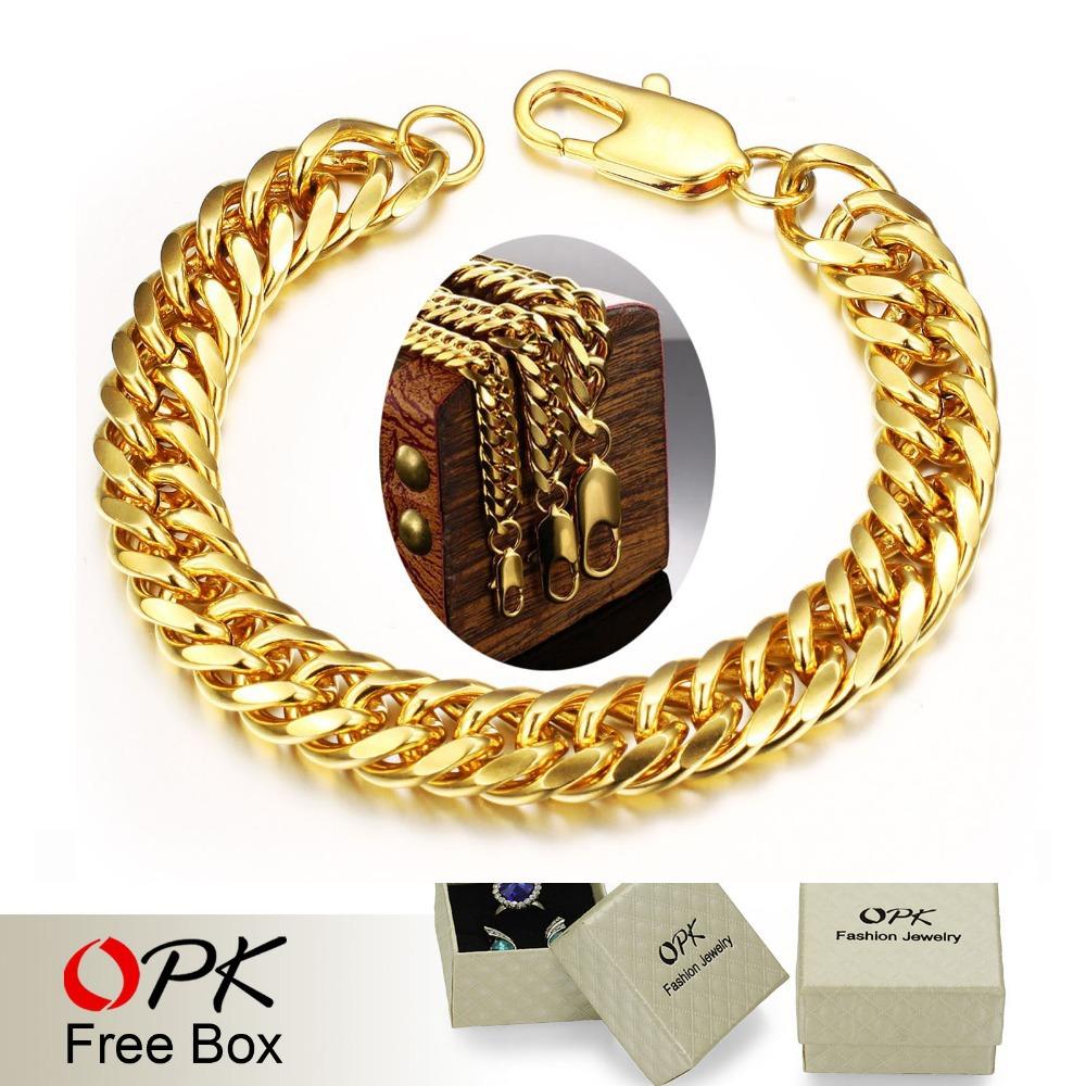 Vintage 18k Gold Link Bracelet Opk Vintage Man Bracelets 18k