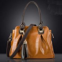 New Fashion Women Messenger Bags Genuine Leather Tote Bolsas Vintage Women Leather Bags Tassel Shoulder Bag Crossbody Bag 2015