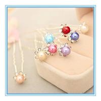 Wholesale 20PCS Wedding Bridal Pearl Hair Pins Flower Crystal Hair Clips Bridesmaid  U Pink Hair Stickers Free Shipping