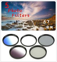 67mm 5 Photo Filter Kits  UV CPL ND4 Grad Color Filter  Lens for Nikon  D610 D3100 D3200 D3300 D5100 D5200  D7000 Camera Lens