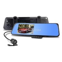 "4.3"" LCD Bule Screen HD1080P H170 Dual Lens Camera Rearview Mirror Viedo Recorder Car DVR Blackbox G-Senser H170 6000C"