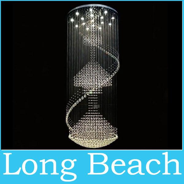 Grátis frete new modern grande lobby do hotel lustre lustres de iluminação cristais projeto espiral escada de cristal lustre(China (Mainland))