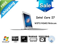 "Free shipping 13.3"" Processor i7 laptop computer with 4GB RAM +128GB SSD Metal case, 8400mAh, Windows 7, wifi, bluetooth,webcam"