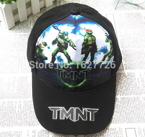 10pcs/lot 2015 New black Adjustable Childrens boys hats 52-54cm TMNT Teenage mutant ninja turtles baseball cap kids hip hop hat(China (Mainland))