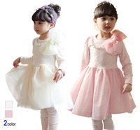 5pc/lot 2015 NEW Fashion Long Sleeve Lace Girl Dress with Big Bow  Kids Tulle Dress Children Mesh Princess Dress Pink White