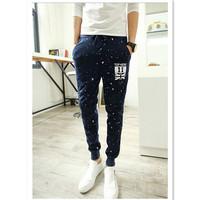 2015 New Fall Men's Fashion Sport Pants Cotton Blend Harem Pants Men Slim Printing Joggers Pants Trousers AY852561