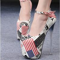 Plus size 34-45 women 19cm high heels pumps shoes thin heel pumps platform heels 9cm platform round toe women pumps shoes