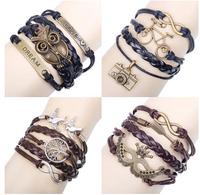 Free shipping New 2015 Retro Leather Bracelet Creative Retro Love 8 Word Cross Hand Woven Bracelets & Bangles