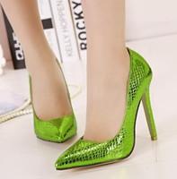 2015 New arrival apple green pumps high heels women shoes green color dress shoes thin heel pumps pointed toe women heels pumps