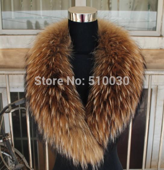 100cm Men&Women Natural Raccoon Fur Collar Huge shawl collar fur scarf detachable to coat Jacket Gift New year festival(China (Mainland))
