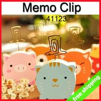 FREE SHIPPING Memo Clip Animal Cartoon Decoration Photo Holder Wood Alloy Stationery Gift Shop Novel 6pcs/lot say hi 41123
