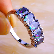 Wholesale New Mysterious Jewelry Fashion Unisex Oval Cut Rainbow Topaz 925 Silver Ring Size 6 7