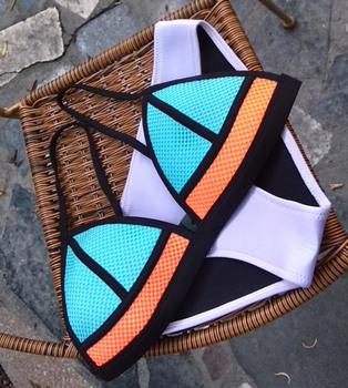 2015 новые женские Triangl сетки неопрена купальники лоскутное неопрена бикини неон купальный костюм Biquini бикини XS-XL