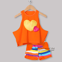 Retail Baby Girl Clothing Sets Orange Heart Sharp Vest Top And Cotton Shorts Kids Clothes Sets Infant Clothng Children Wear