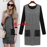 2014 fashion autumn and winter plus size plus size clothing ol mm loose long-sleeve basic one-piece dress