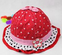 Hot Sale 2015 Summer Children's Sun Hats New Style Cute Heart Print  Caps for Kids