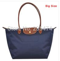 New Nylon Bag Shoulder messenger Bag dumplings shopping folding Bag Leather Handle size L