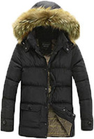New Designer 2015 Men Winter Fashion casual Down Jackets with Simulation raccoon fur Black /Blue/Green Man Thick Warm Coats