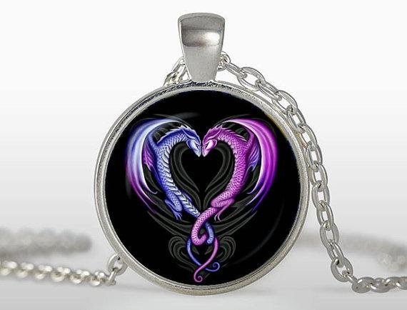 (3 pieces/lot) Dragons heart pendant Double Dragon Pendant Dragon Heart Jewelry Colar Glass Cabochon Pendants Sale on Aliexpress(China (Mainland))