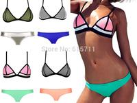 2015 Neoprene  Mesh Bikini Set  Women Triangle Swimsuit Brazilian Neon Color biquini Diving Suit Swimwear Bathing Suits S-L