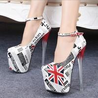Women pumps19cm high heels shoes thin heel platform shoes for women America flag pumps high heels top fashion heels plus size 45
