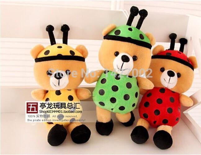 Creative cute teddy bear plush toy ladybug crossdressers small toy doll birthday gift Pendant Free shipping(China (Mainland))