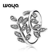 925 Sterling Silver Leaves Ring With Cubic Zirconia European Fine Brand Jewelry For Women Birthday Gift Rings Free Shipping