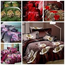Nova 3D conjunto de cama animais e flores roupa de cama jogo de cama família set 4 pcs colcha de cama / lençóis / fronhas king size(China (Mainland))