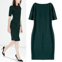 Women Dress 2015 Vestidos Brief Dark-Green Casual OL Ladies Dress Slim Short Sleeve O Neck Vintage Fit Brand Party Dresses